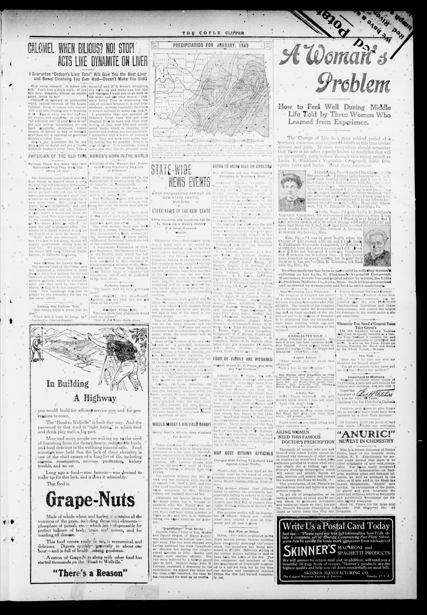 Cimarron Valley Clipper (Coyle, Okla.), Vol. 14, No. 41, Ed. 1 Thursday, February 24, 1916                                                                                                      [Sequence #]: 3 of 4