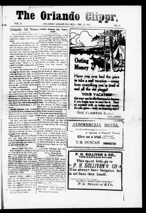 Primary view of object titled 'The Orlando Clipper (Orlando, Okla.), Vol. 11, No. 11, Ed. 1 Friday, February 16, 1917'.