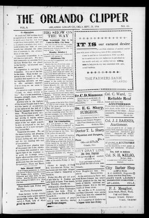 Primary view of object titled 'The Orlando Clipper (Orlando, Okla.), Vol. 8, No. 43, Ed. 1 Friday, September 25, 1914'.