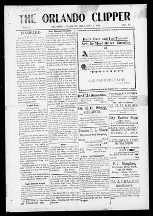 Primary view of object titled 'The Orlando Clipper (Orlando, Okla.), Vol. 8, No. 40, Ed. 1 Friday, September 4, 1914'.