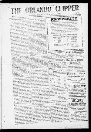 Primary view of object titled 'The Orlando Clipper (Orlando, Okla.), Vol. 9, No. 24, Ed. 1 Friday, May 21, 1915'.