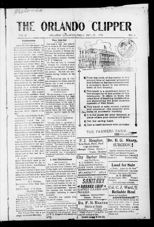 Primary view of object titled 'The Orlando Clipper (Orlando, Okla.), Vol. 10, No. 2, Ed. 1 Friday, December 17, 1915'.