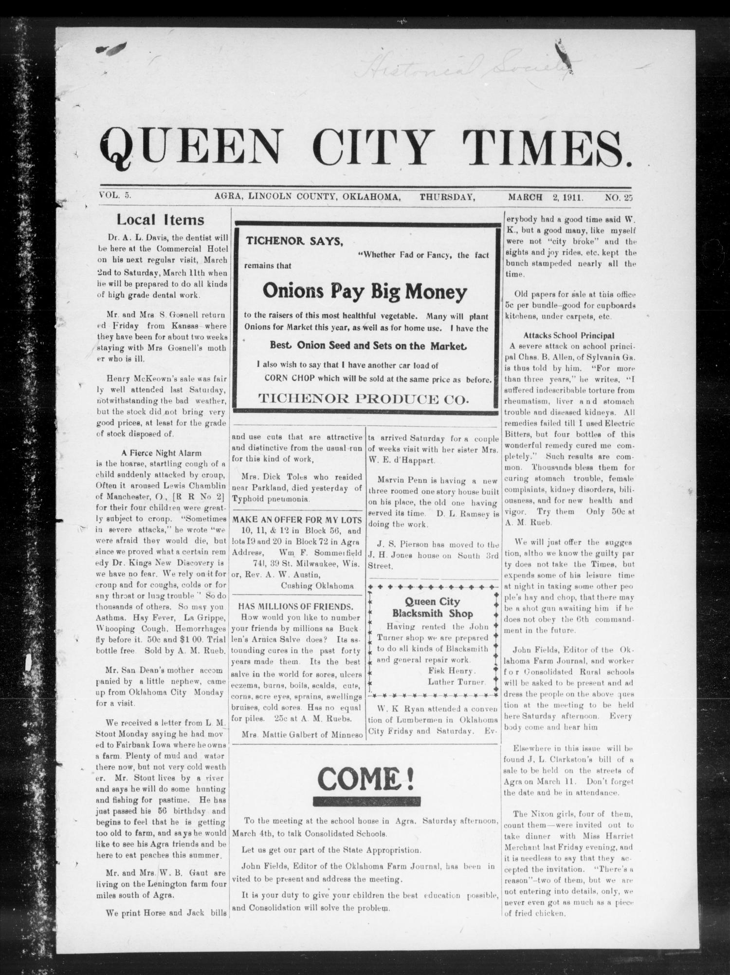 Queen City Times. (Agra, Okla.), Vol. 5, No. 25, Ed. 1 Thursday, March 2, 1911                                                                                                      [Sequence #]: 1 of 8