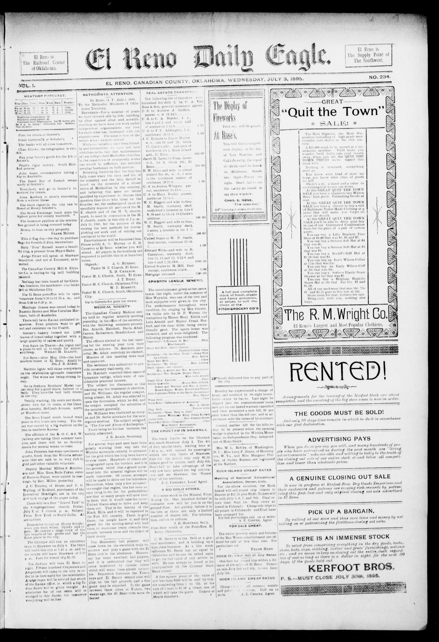El Reno Daily Eagle. (El Reno, Okla.), Vol. 1, No. 234, Ed. 1 Wednesday, July 3, 1895                                                                                                      [Sequence #]: 1 of 4