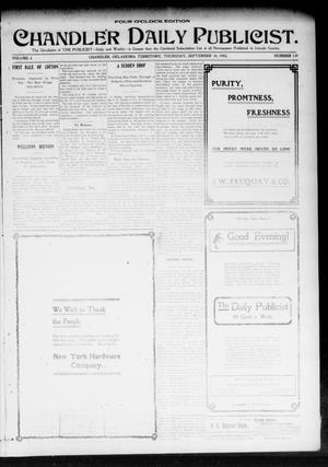 Primary view of object titled 'Chandler Daily Publicist. (Chandler, Okla. Terr.), Vol. 2, No. 139, Ed. 1 Thursday, September 10, 1903'.