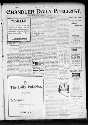 Primary view of object titled 'Chandler Daily Publicist. (Chandler, Okla. Terr.), Vol. 3, No. 153, Ed. 1 Wednesday, September 21, 1904'.