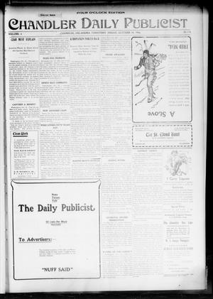 Primary view of object titled 'Chandler Daily Publicist. (Chandler, Okla. Terr.), Vol. 3, No. 170, Ed. 1 Friday, October 14, 1904'.
