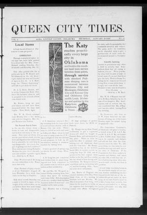 Primary view of object titled 'Queen City Times. (Agra, Okla.), Vol. 4, No. 19, Ed. 1 Thursday, January 20, 1910'.