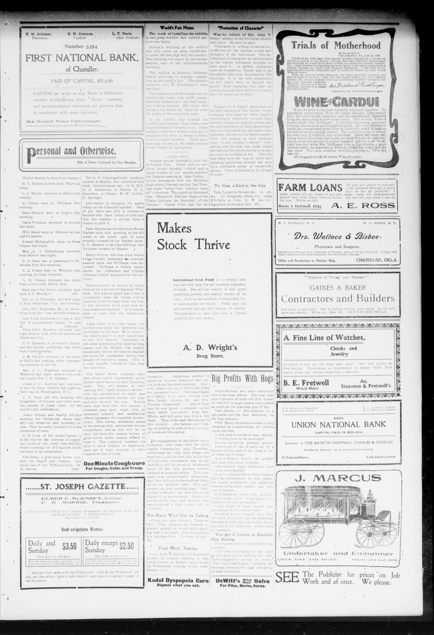 Chandler Daily Publicist. (Chandler, Okla. Terr.), Vol. 2, No. 261, Ed. 1 Tuesday, February 2, 1904                                                                                                      [Sequence #]: 3 of 4