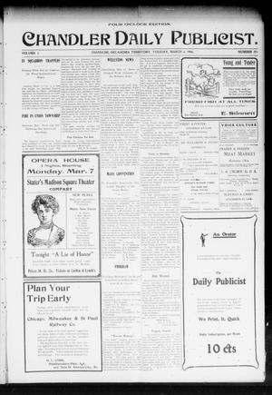 Primary view of object titled 'Chandler Daily Publicist. (Chandler, Okla. Terr.), Vol. 2, No. 291, Ed. 1 Tuesday, March 8, 1904'.