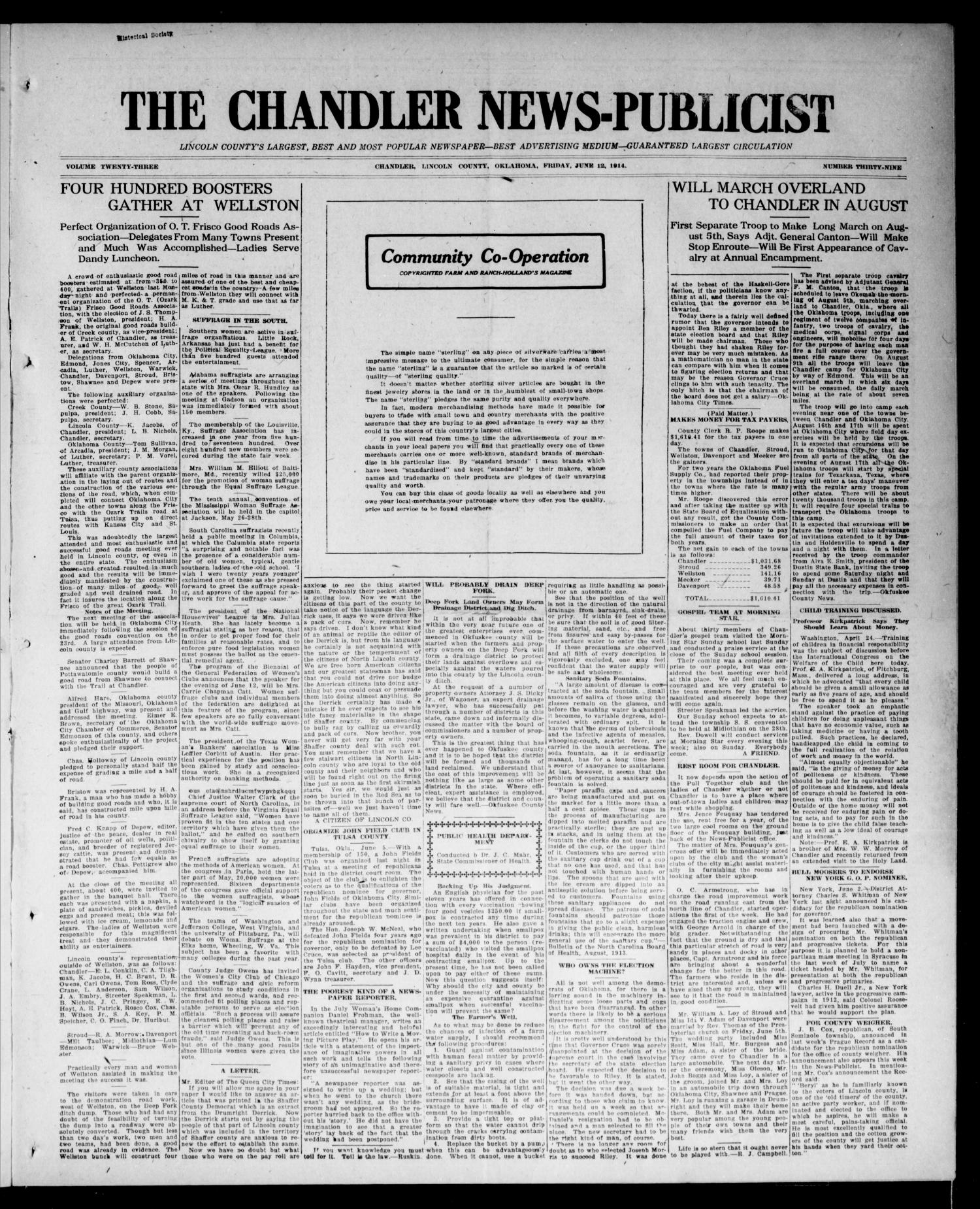 The Chandler News-Publicist (Chandler, Okla.), Vol. 23, No. 39, Ed. 1 Friday, June 12, 1914                                                                                                      [Sequence #]: 1 of 8