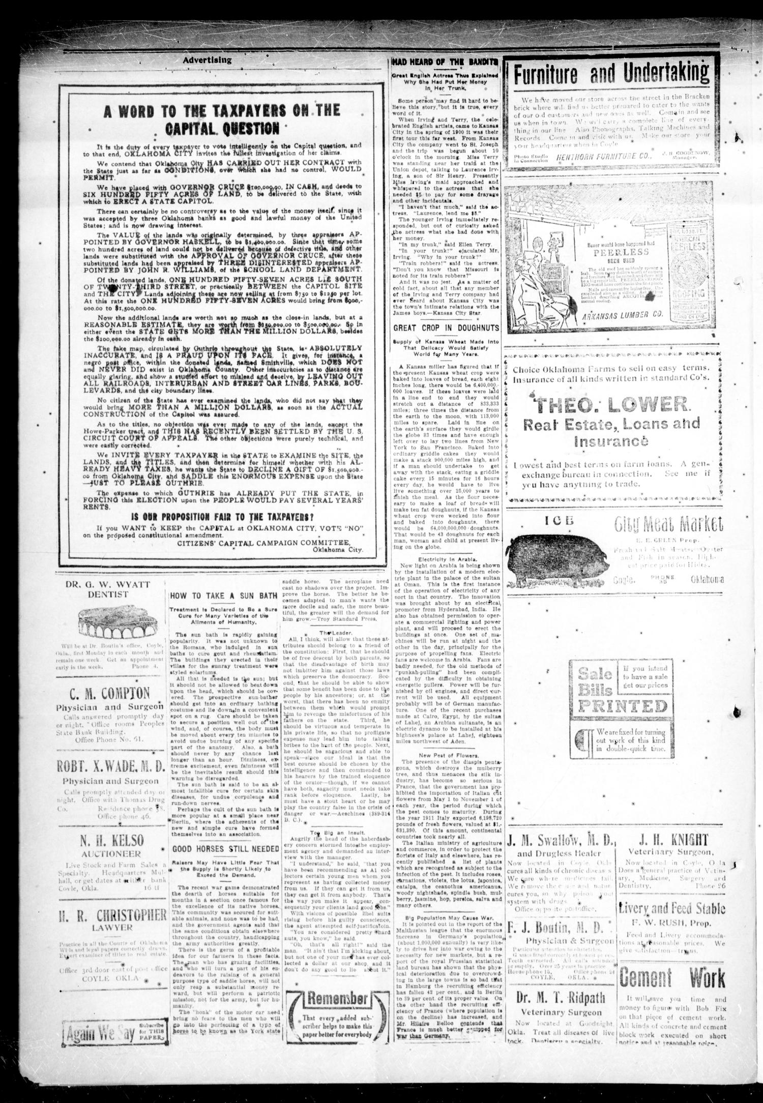 Cimarron Valley Clipper (Coyle, Okla.), Vol. 12, No. 23, Ed. 1 Thursday, October 24, 1912                                                                                                      [Sequence #]: 2 of 4