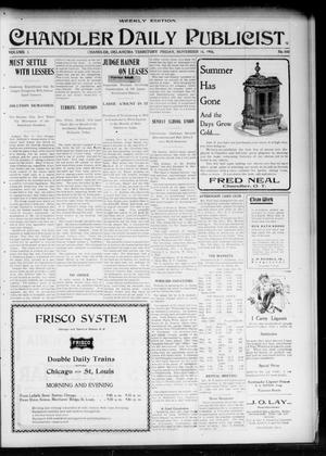 Primary view of object titled 'Chandler Daily Publicist. (Chandler, Okla. Terr.), Vol. 3, No. 200, Ed. 1 Friday, November 18, 1904'.