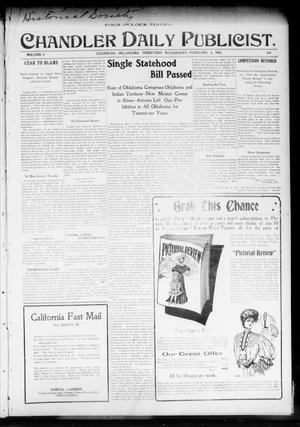 Primary view of object titled 'Chandler Daily Publicist. (Chandler, Okla. Terr.), Vol. 3, No. 268, Ed. 1 Wednesday, February 8, 1905'.