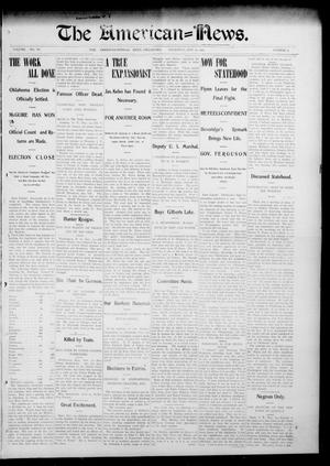 Primary view of object titled 'The American--News. (El Reno, Okla.), Vol. 6, No. 33, Ed. 1 Thursday, November 13, 1902'.