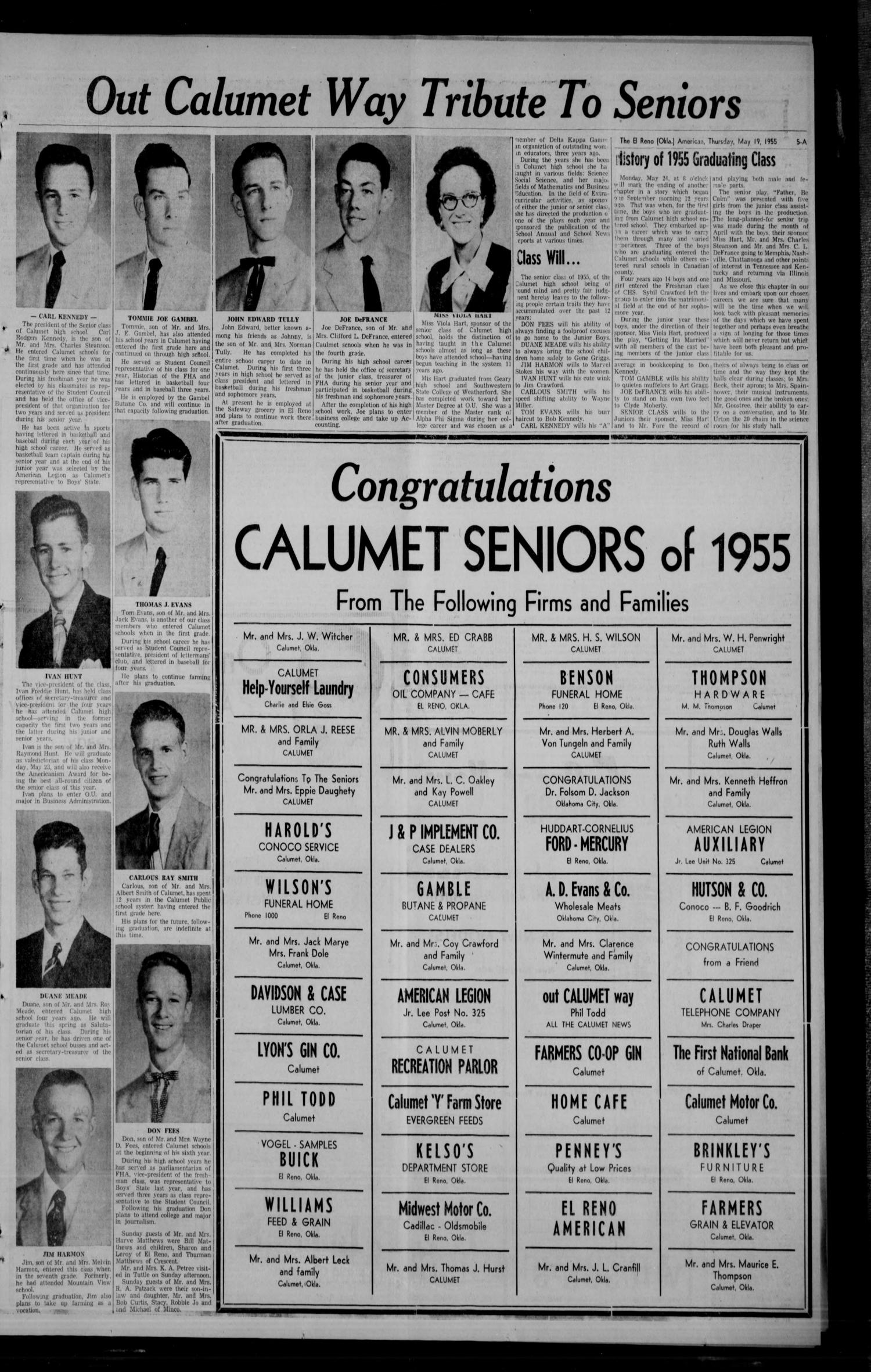 The El Reno American (El Reno, Okla.), Vol. 61, No. 30, Ed. 1 Thursday, May  19, 1955   Page 5 Of 14   The Gateway To Oklahoma History