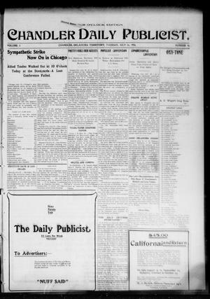 Primary view of object titled 'Chandler Daily Publicist. (Chandler, Okla. Terr.), Vol. 3, No. 98, Ed. 1 Tuesday, July 26, 1904'.