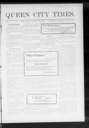 Primary view of object titled 'Queen City Times. (Agra, Okla.), Vol. 6, No. 1, Ed. 1 Thursday, September 14, 1911'.