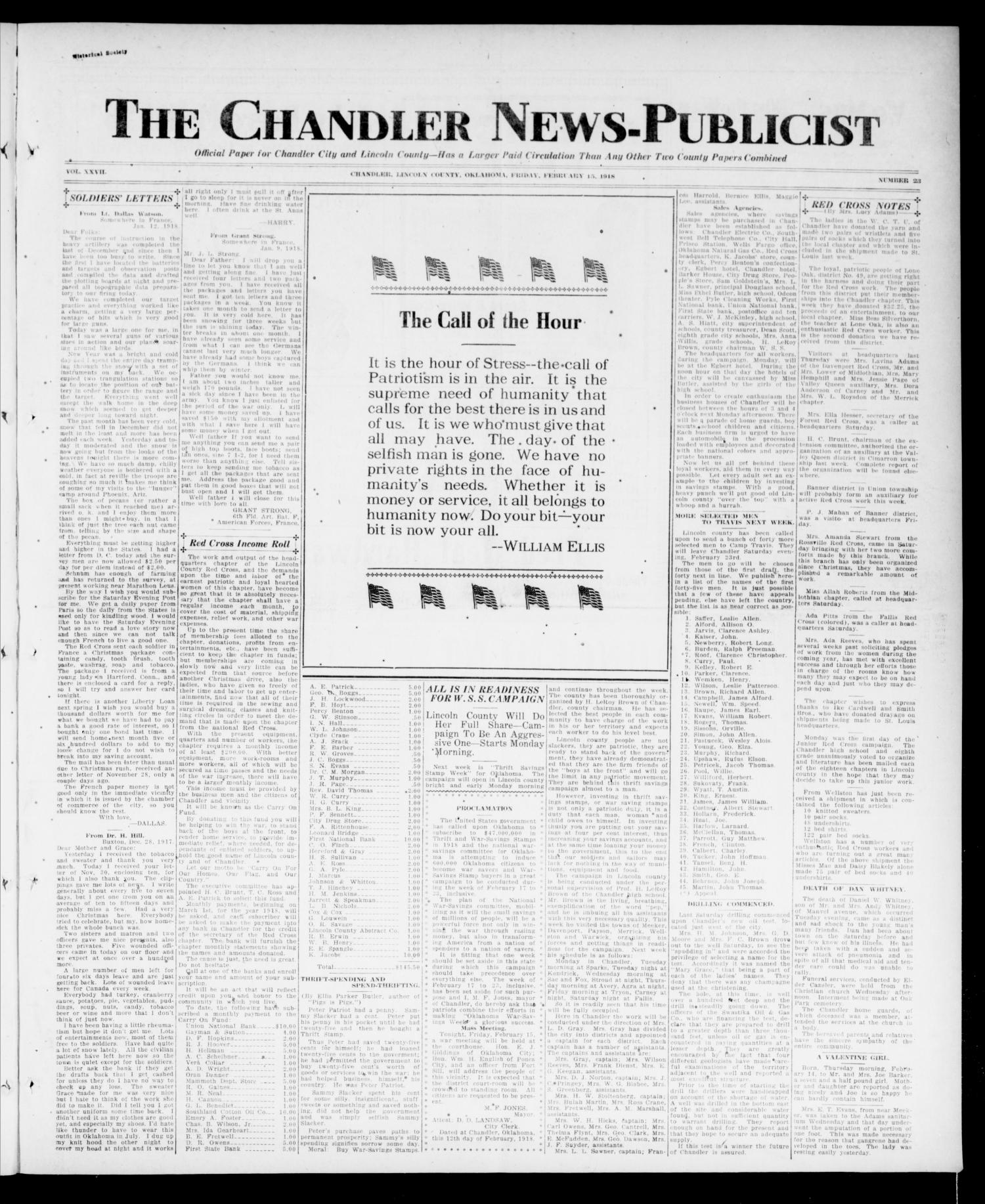 friday february 15 1918