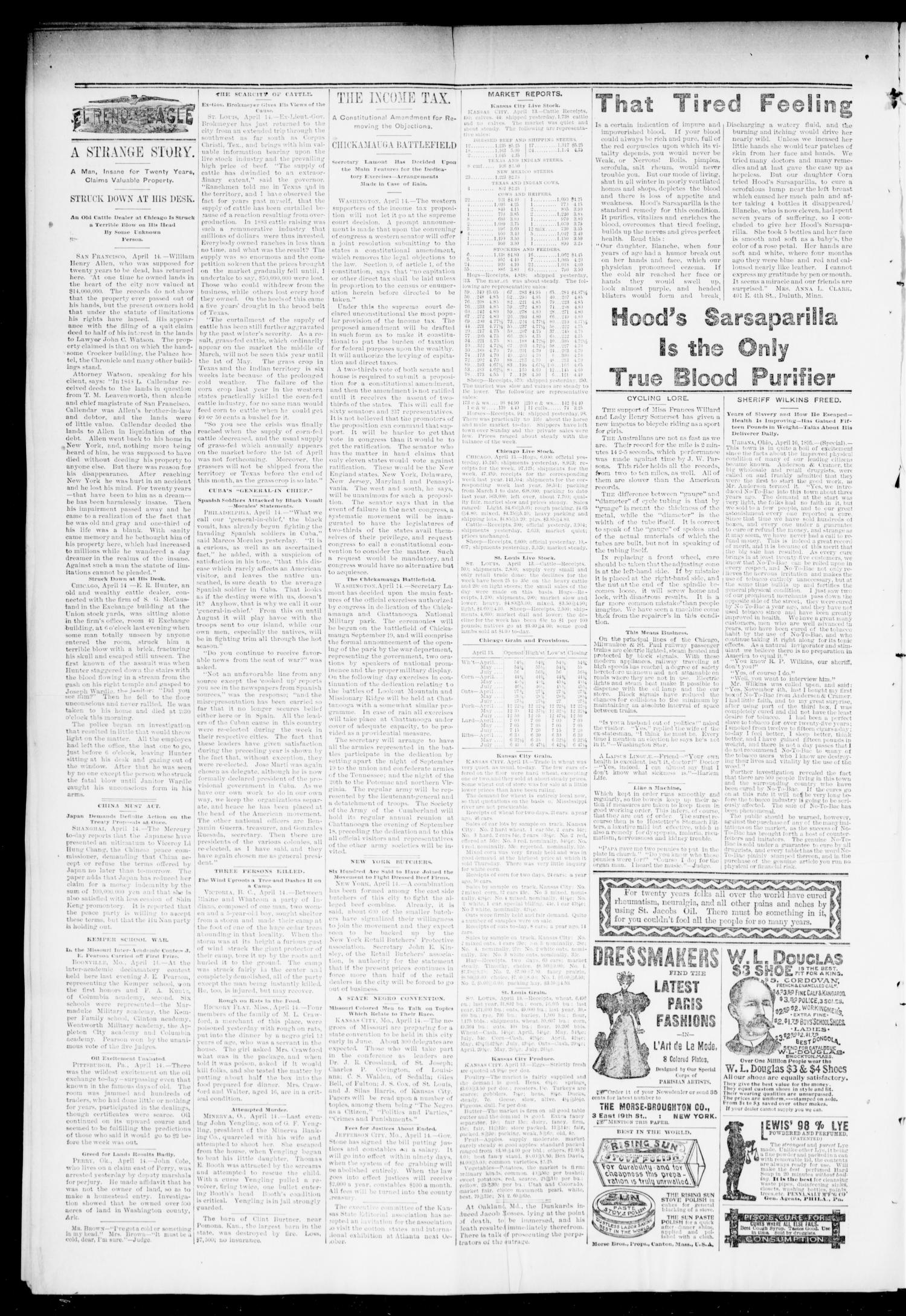 El Reno Daily Eagle. (El Reno, Okla.), Vol. 1, No. 167, Ed. 1 Tuesday, April 16, 1895                                                                                                      [Sequence #]: 2 of 4