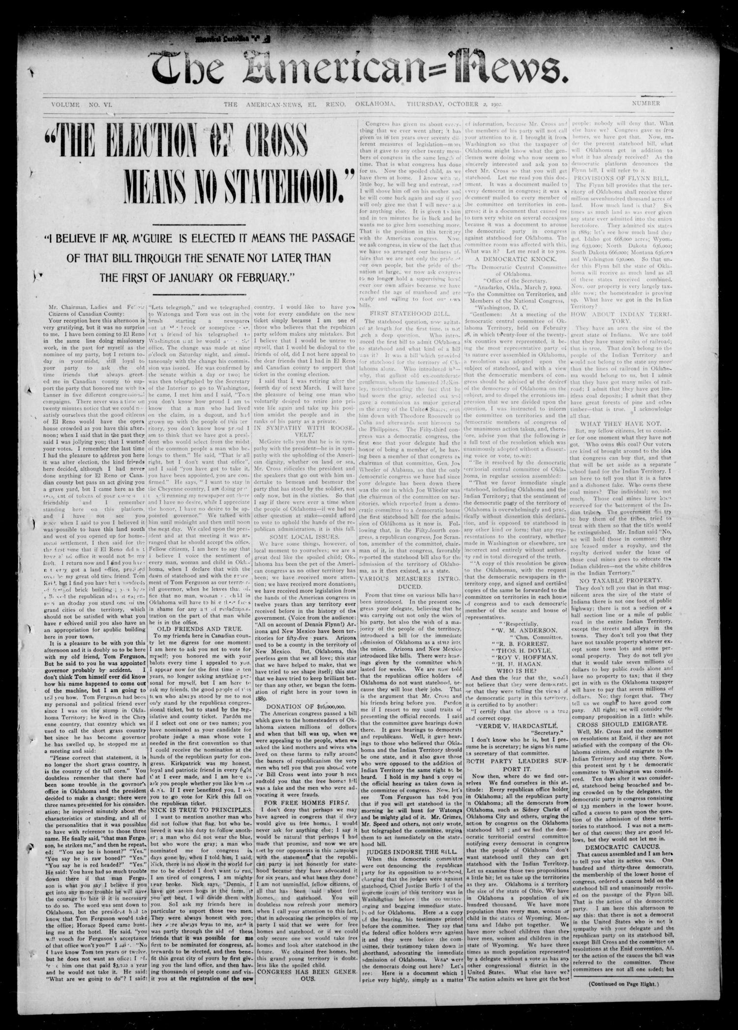 The American--News. (El Reno, Okla.), Vol. 6, No. 26, Ed. 1 Thursday, October 2, 1902                                                                                                      [Sequence #]: 1 of 9