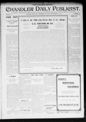 Primary view of object titled 'Chandler Daily Publicist. (Chandler, Okla. Terr.), Vol. 2, No. 141, Ed. 1 Saturday, September 12, 1903'.