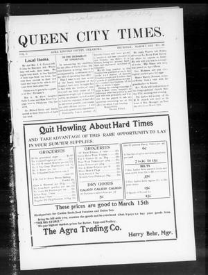 Primary view of object titled 'Queen City Times. (Agra, Okla.), Vol. 6, No. 26, Ed. 1 Thursday, March 7, 1912'.