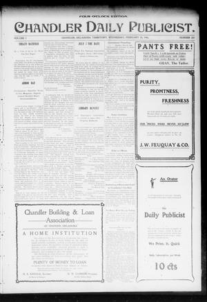 Primary view of object titled 'Chandler Daily Publicist. (Chandler, Okla. Terr.), Vol. 2, No. 280, Ed. 1 Wednesday, February 24, 1904'.