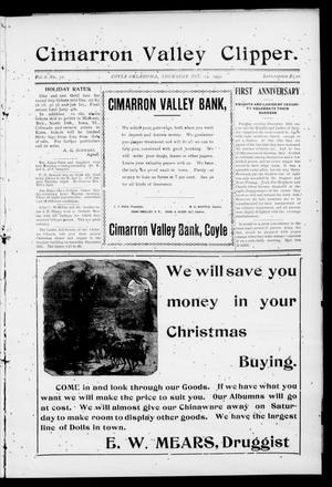 Primary view of object titled 'Cimarron Valley Clipper. (Coyle, Okla.), Vol. 6, No. 32, Ed. 1 Thursday, December 14, 1905'.