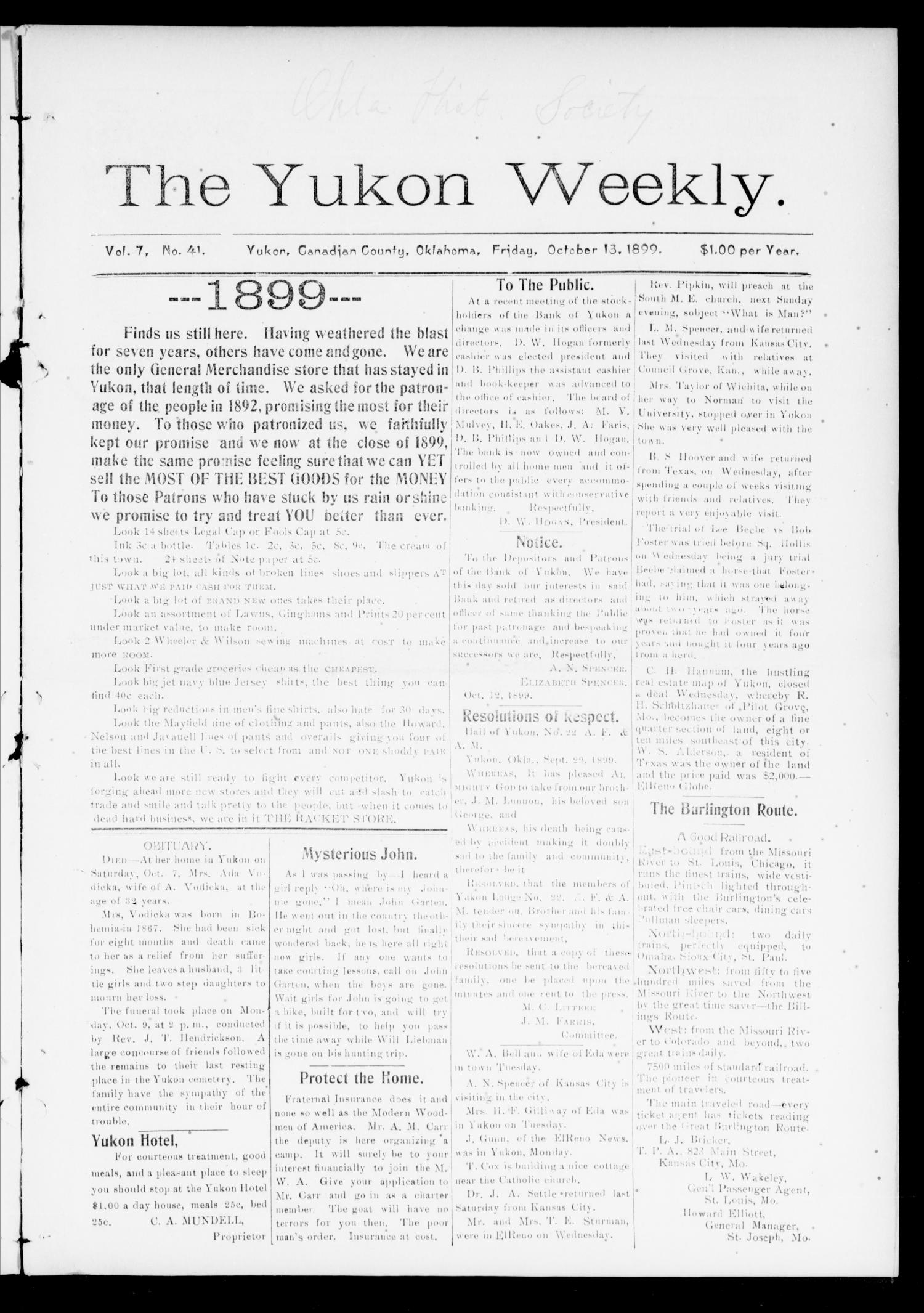 The Yukon Weekly. (Yukon, Okla.), Vol. 7, No. 41, Ed. 1 Friday, October 13, 1899                                                                                                      [Sequence #]: 1 of 10