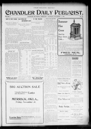 Primary view of object titled 'Chandler Daily Publicist. (Chandler, Okla. Terr.), Vol. 3, No. 199, Ed. 1 Thursday, November 17, 1904'.