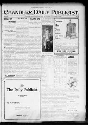 Primary view of object titled 'Chandler Daily Publicist. (Chandler, Okla. Terr.), Vol. 3, No. 198, Ed. 1 Wednesday, November 16, 1904'.