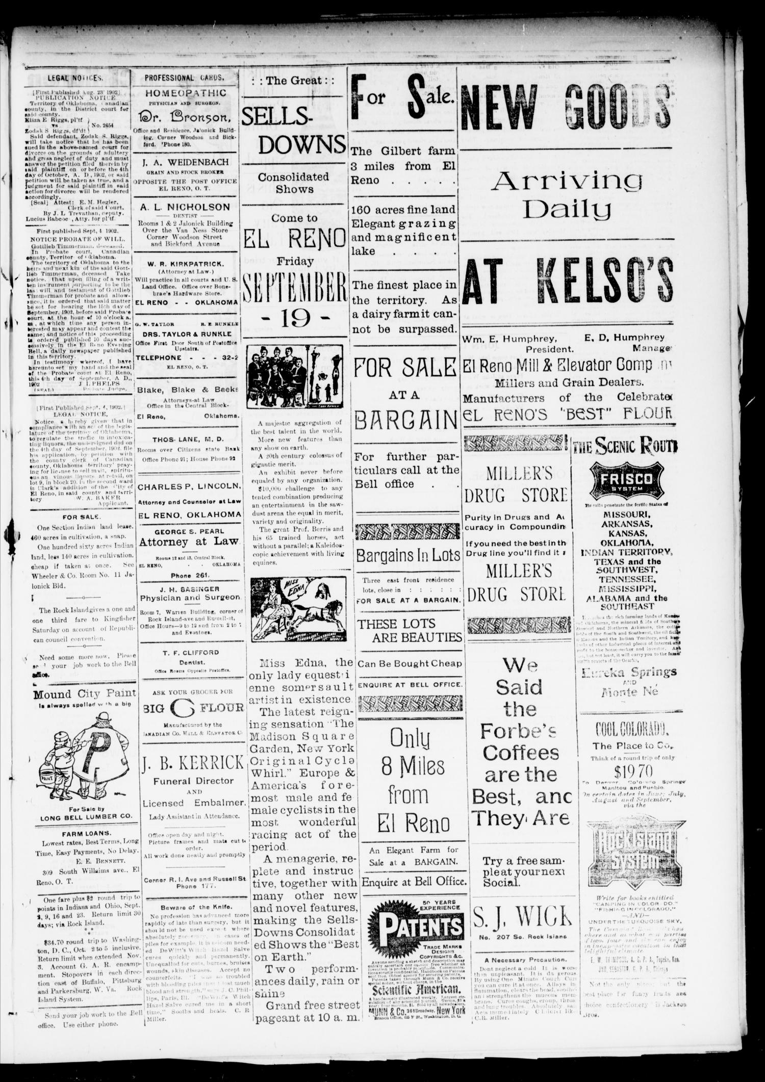 El Reno Evening Bell. (El Reno, Okla.), Vol. 8, No. 14, Ed. 1 Friday, September 12, 1902                                                                                                      [Sequence #]: 3 of 4