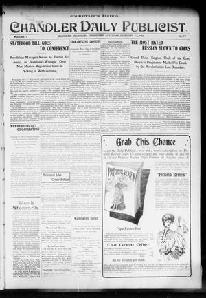 Primary view of object titled 'Chandler Daily Publicist. (Chandler, Okla. Terr.), Vol. 3, No. 277, Ed. 1 Saturday, February 18, 1905'.