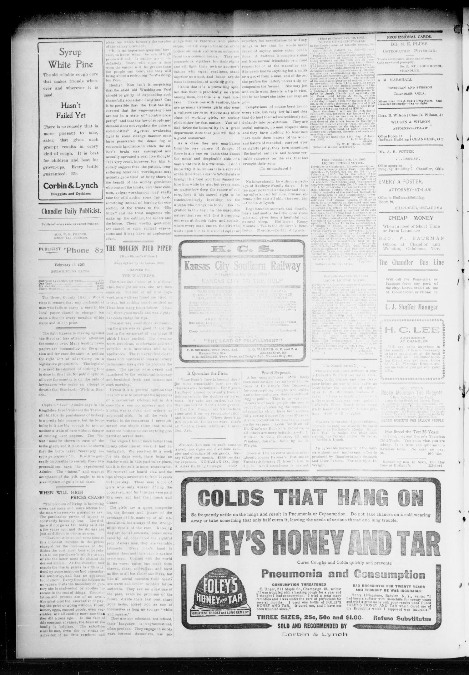 Chandler Daily Publicist. (Chandler, Okla. Terr.), Vol. 3, No. 277, Ed. 1 Saturday, February 18, 1905                                                                                                      [Sequence #]: 4 of 8