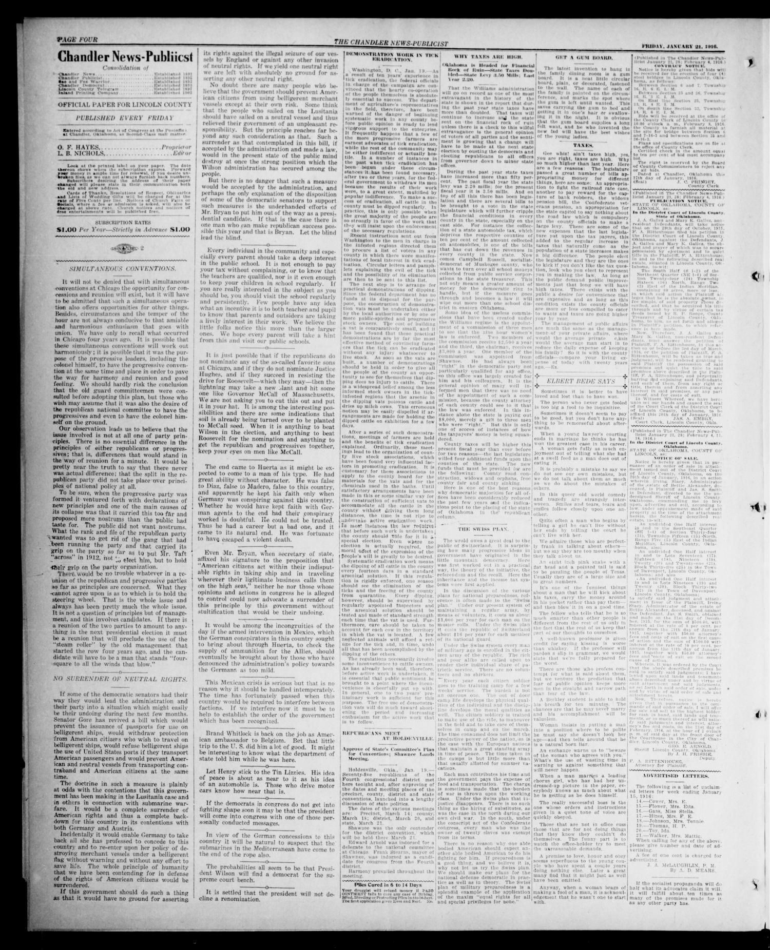 The Chandler News-Publicist (Chandler, Okla.), Vol. 25, No. 19, Ed. 1 Friday, January 21, 1916                                                                                                      [Sequence #]: 4 of 8
