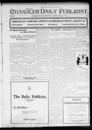 Primary view of object titled 'Chandler Daily Publicist. (Chandler, Okla. Terr.), Vol. 3, No. 116, Ed. 1 Tuesday, August 16, 1904'.