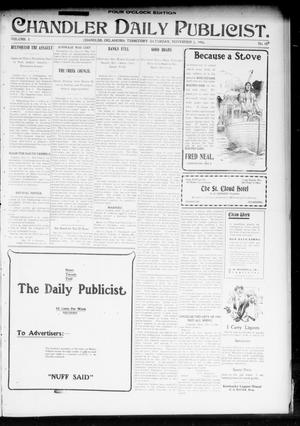 Primary view of object titled 'Chandler Daily Publicist. (Chandler, Okla. Terr.), Vol. 3, No. 189, Ed. 1 Saturday, November 5, 1904'.
