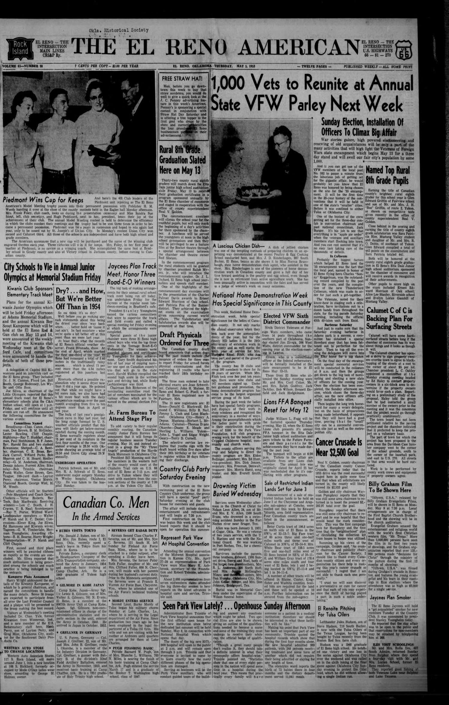 The El Reno American (El Reno, Okla.), Vol. 61, No. 28, Ed. 1 Thursday, May 5, 1955                                                                                                      [Sequence #]: 1 of 12