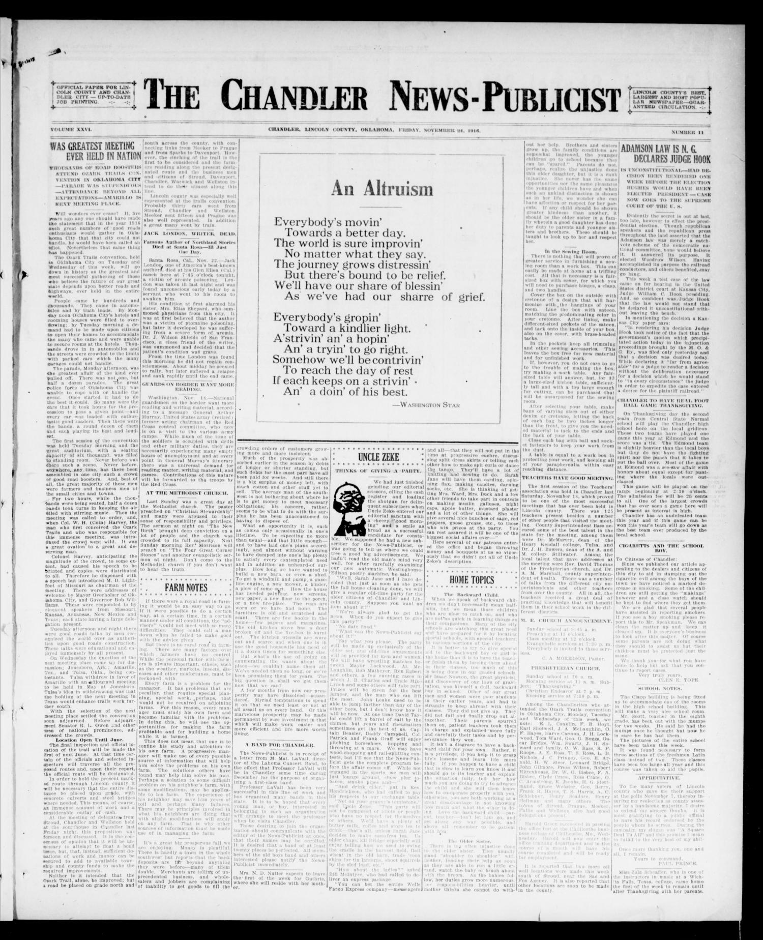 The Chandler News-Publicist (Chandler, Okla.), Vol. 26, No. 11, Ed. 1 Friday, November 24, 1916                                                                                                      [Sequence #]: 1 of 8