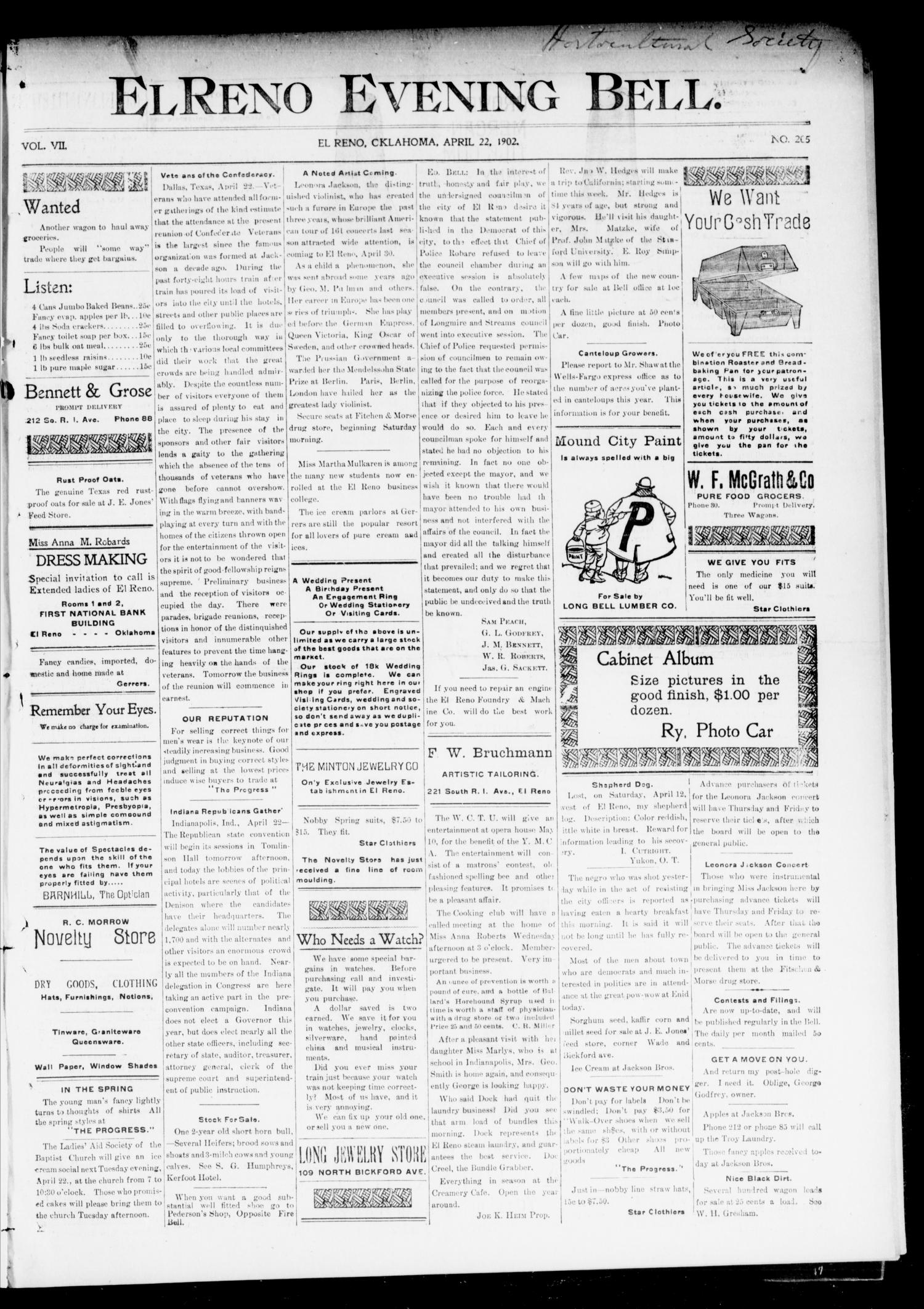 El Reno Evening Bell. (El Reno, Okla.), Vol. 7, No. 205, Ed. 1 Tuesday, April 22, 1902                                                                                                      [Sequence #]: 1 of 4