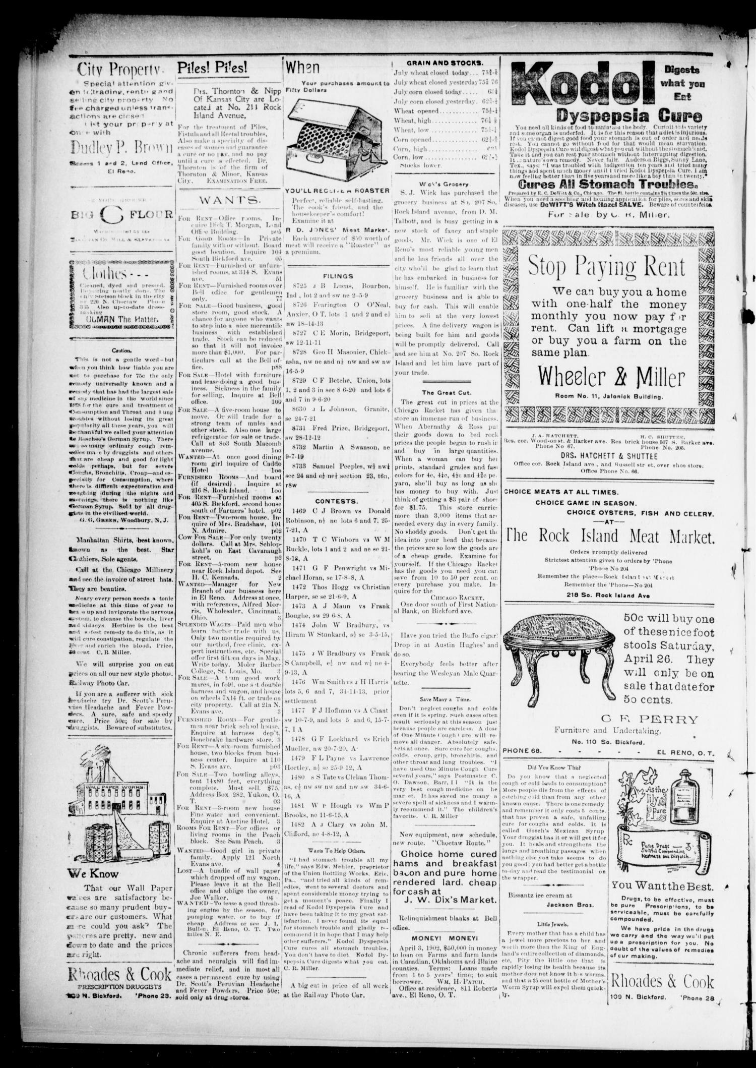 El Reno Evening Bell. (El Reno, Okla.), Vol. 7, No. 205, Ed. 1 Tuesday, April 22, 1902                                                                                                      [Sequence #]: 4 of 4