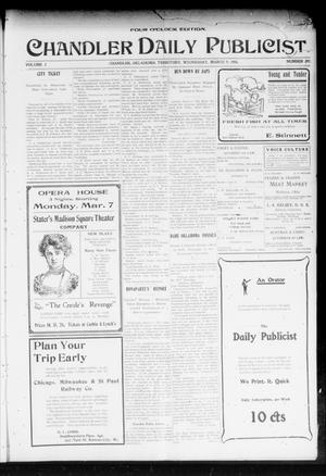 Primary view of object titled 'Chandler Daily Publicist. (Chandler, Okla. Terr.), Vol. 2, No. 292, Ed. 1 Wednesday, March 9, 1904'.