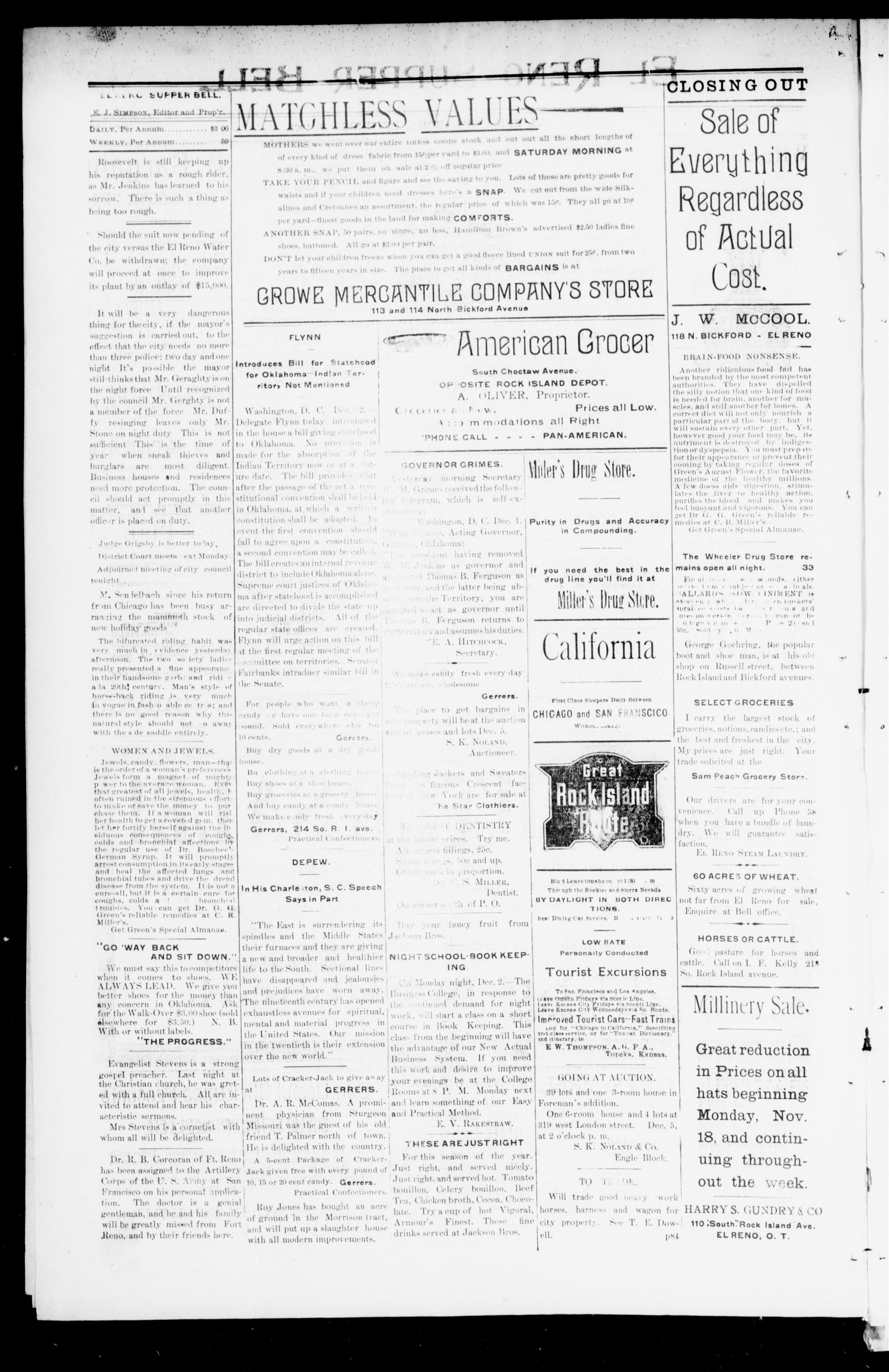 El Reno Supper Bell. (El Reno, Okla.), Vol. 7, No. 87, Ed. 1 Tuesday, December 3, 1901                                                                                                      [Sequence #]: 2 of 4