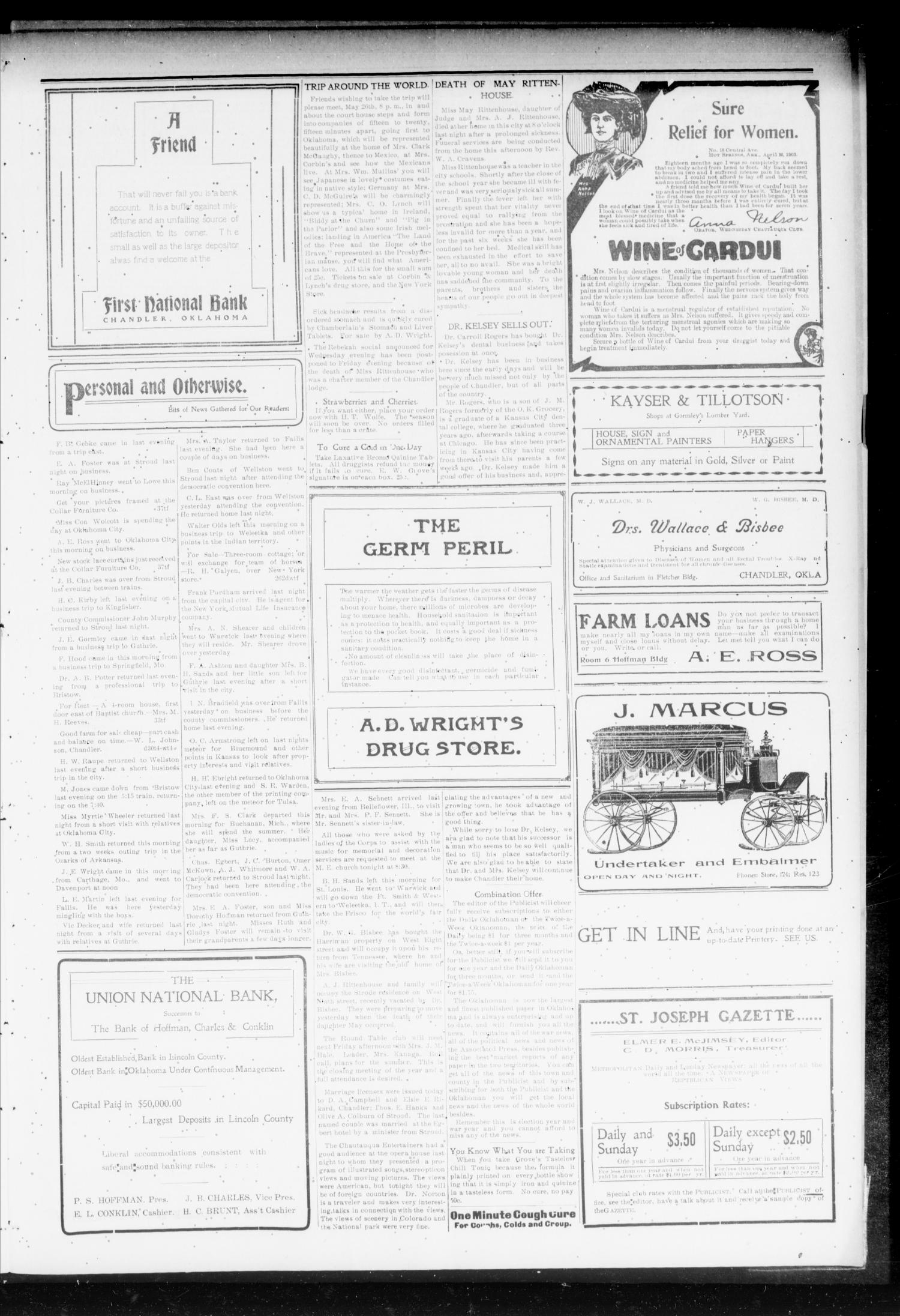Chandler Daily Publicist. (Chandler, Okla. Terr.), Vol. 3, No. 46, Ed. 1 Tuesday, May 24, 1904                                                                                                      [Sequence #]: 3 of 4