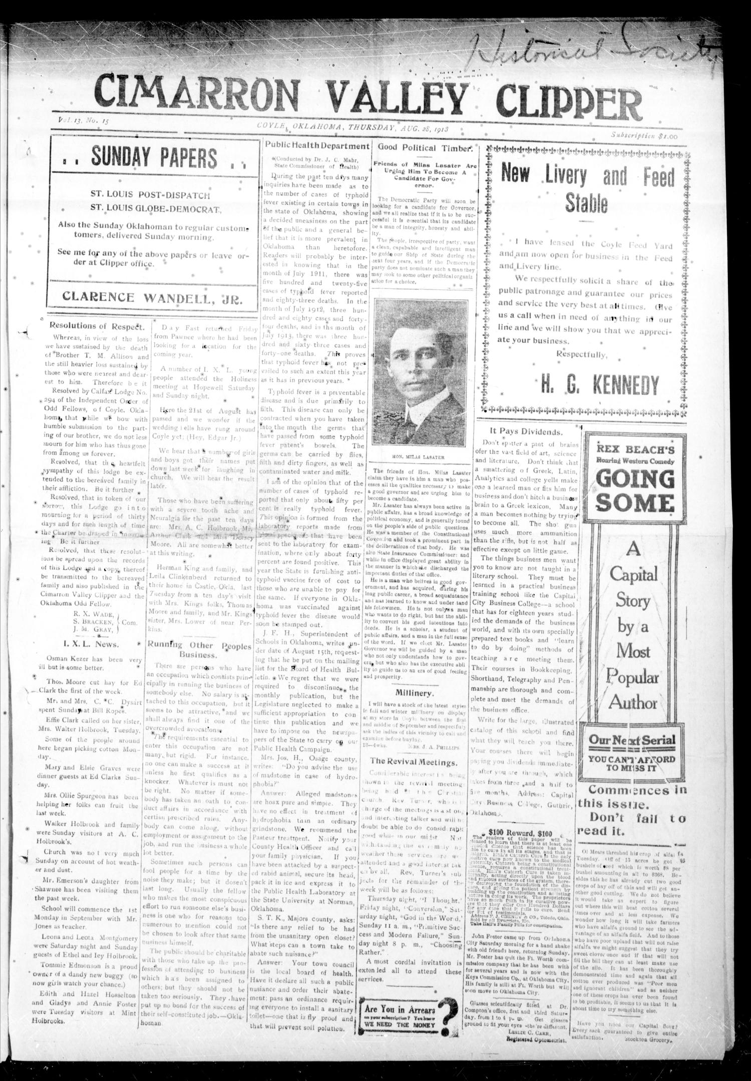 Cimarron Valley Clipper (Coyle, Okla.), Vol. 13, No. 15, Ed. 1 Thursday, August 28, 1913                                                                                                      [Sequence #]: 1 of 6