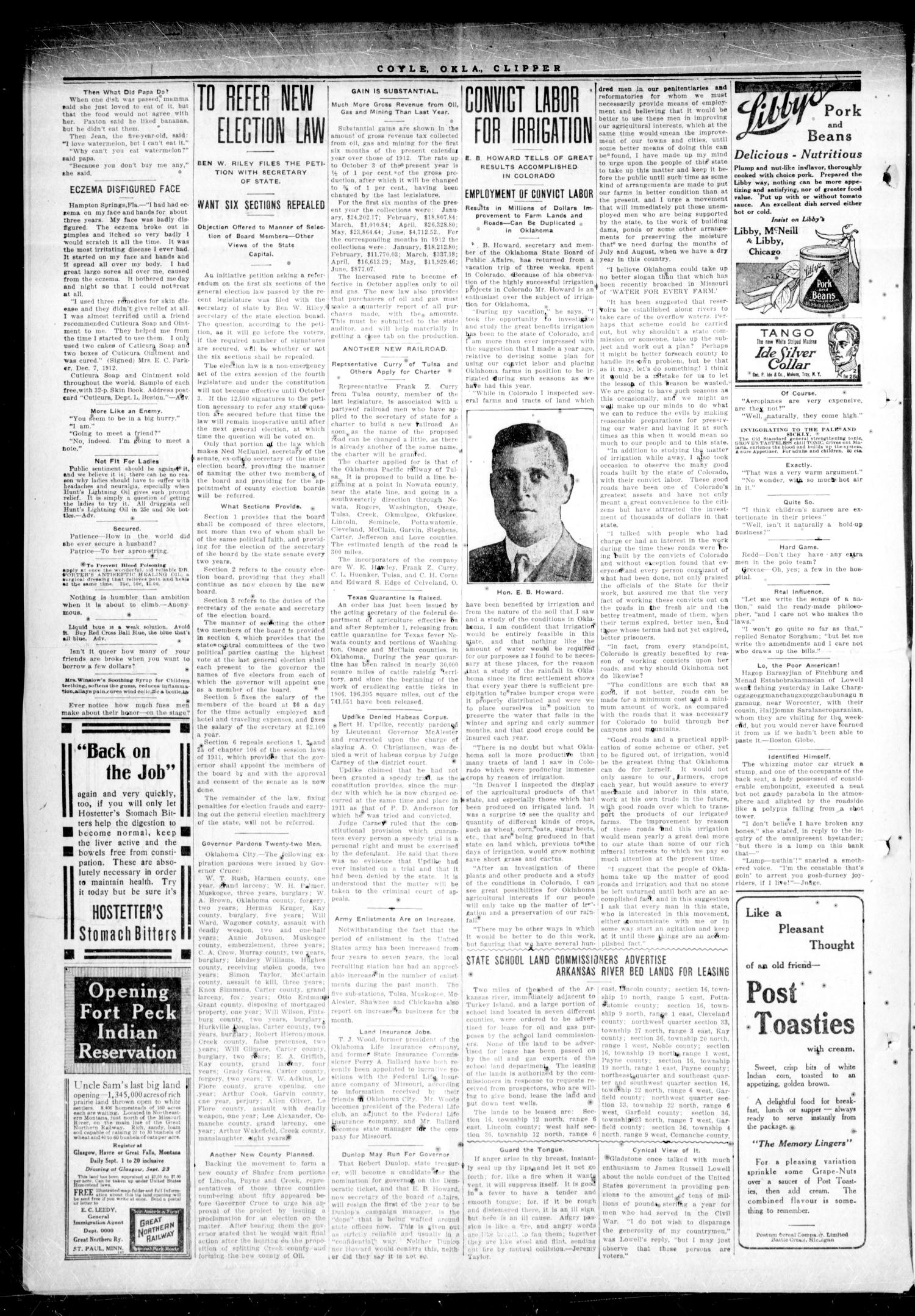 Cimarron Valley Clipper (Coyle, Okla.), Vol. 13, No. 15, Ed. 1 Thursday, August 28, 1913                                                                                                      [Sequence #]: 2 of 6