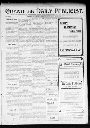 Primary view of object titled 'Chandler Daily Publicist. (Chandler, Okla. Terr.), Vol. 2, No. 154, Ed. 1 Monday, September 28, 1903'.