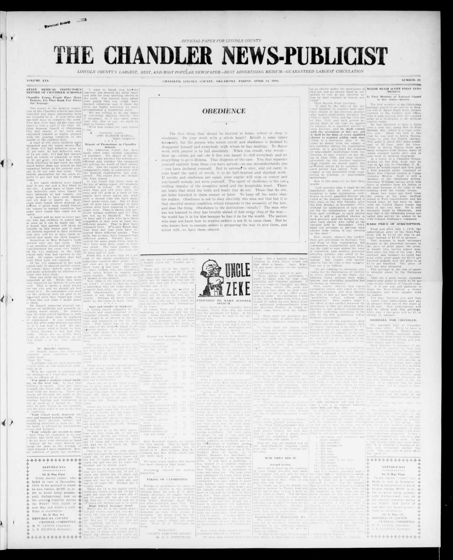 The Chandler News-Publicist (Chandler, Okla.), Vol. 25, No. 31, Ed. 1 Friday, April 14, 1916                                                                                                      [Sequence #]: 1 of 8