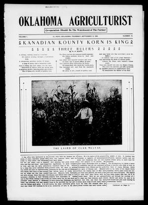 Primary view of object titled 'Oklahoma Agriculturist (El Reno, Okla.), Vol. 1, No. 13, Ed. 1 Thursday, September 13, 1906'.